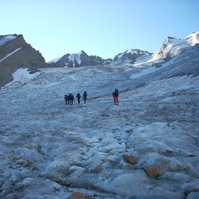 Walking on a glacier