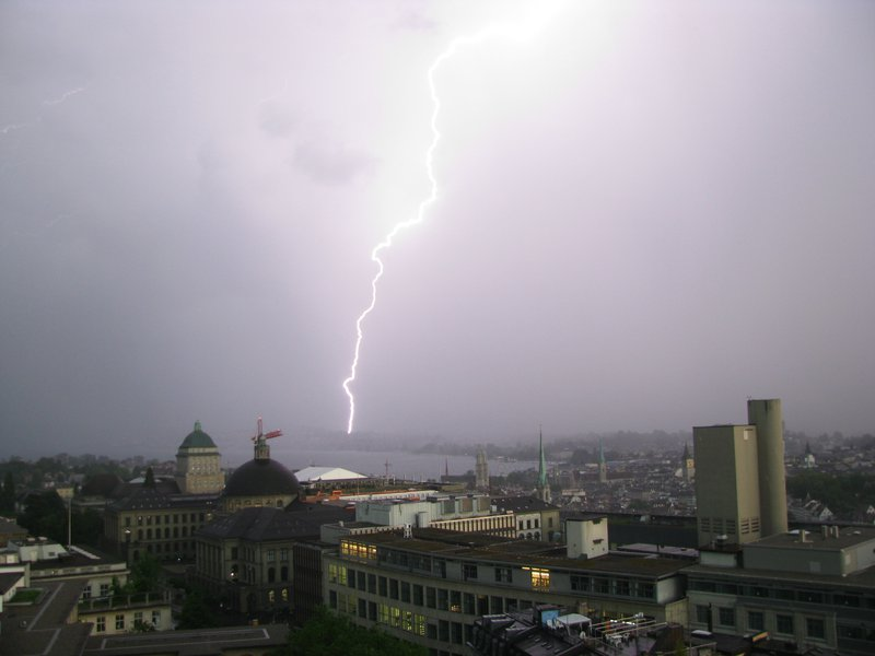 Zurich lit by lightning