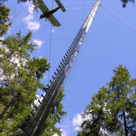 The An-2 aircraft measuring above an eddy flux tower.
