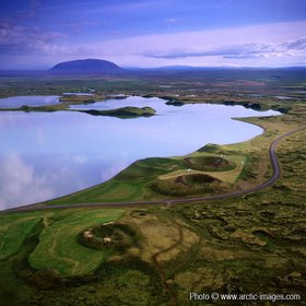 Aerial of Lake Myvatn, Northern Iceland