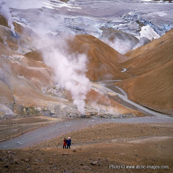Scientist and Poet walking in Geothermal area, Mt Kerlingafoll, Iceland