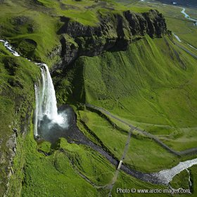 Aerial of Seljalandsfoss waterfall, Iceland