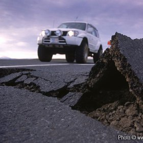 Asphalt damage from earthquake, South Coast, Iceland