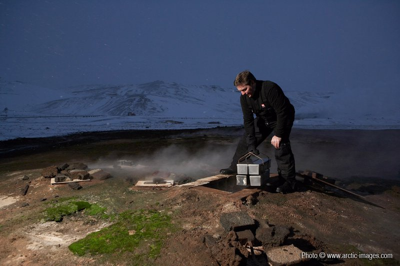 Cooking bread with geothermal heat underground, Myvatn, Iceland