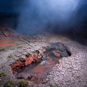 Steaming mudpots in geothermal area, Hveragerdi, Iceland