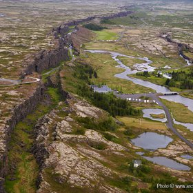 Aerial of Almannagja fissure, Thingvellir National Park, Iceland
