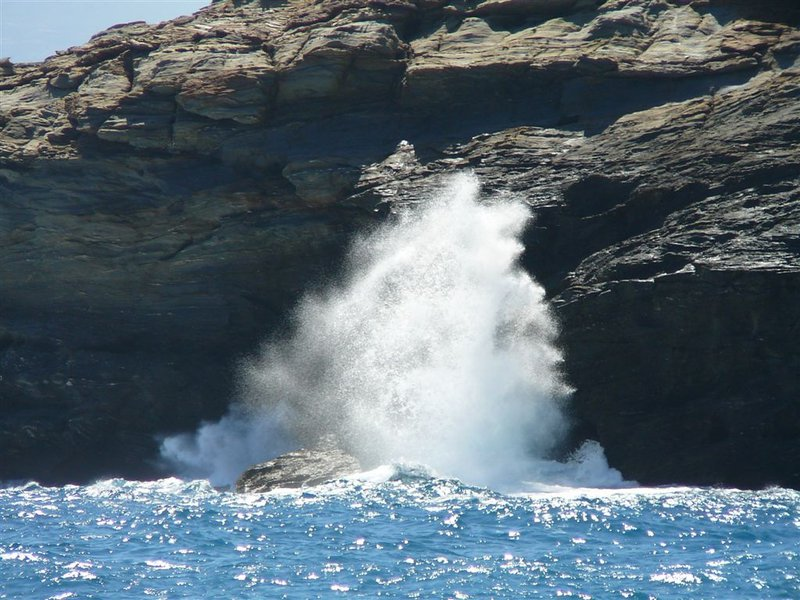 Rocks and Sea Waves in Andros Island, Greece