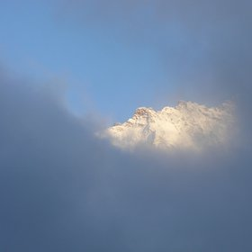 Jungfrau peak between clouds
