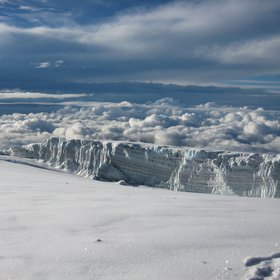 Snow covered glaciers on Kilimanajro