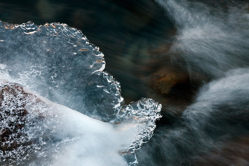 Ice and flowing water