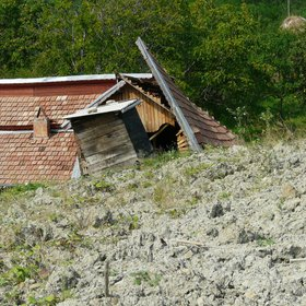 House damaged by Chirlesti mud flow, Buzau county, Romania
