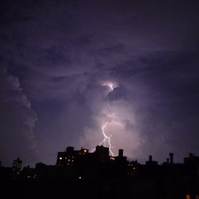 Lightning strikes in NYC during the big storm of 2009