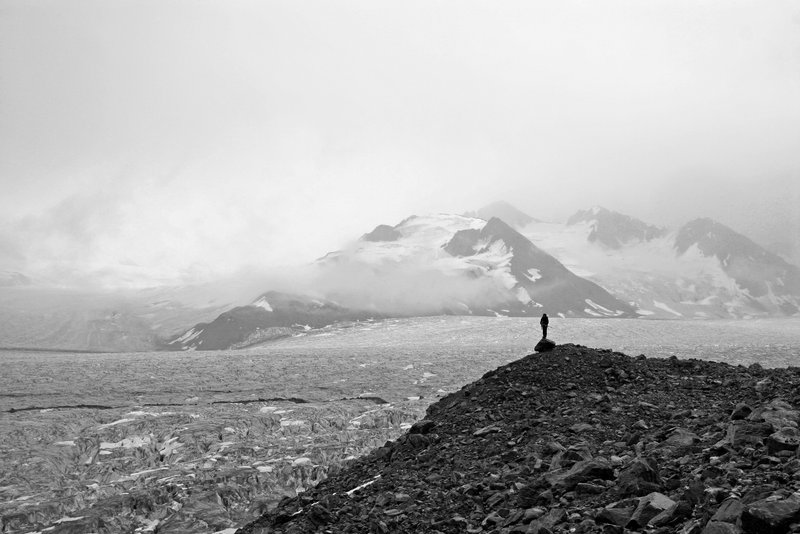 Geologist on Fan Glacier