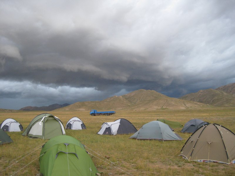 Arcus cloud over base camp at the Tibetan Plateau