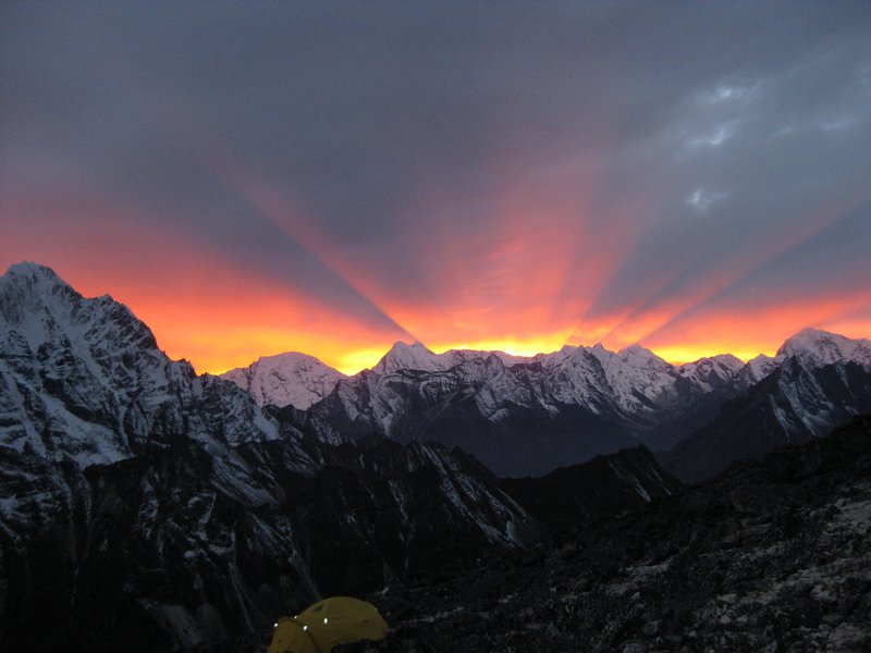 Sunset from 20,000 feet on Mount Ama Dablam, Nepal