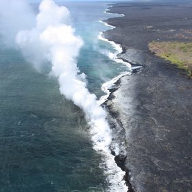 Lava flow into sea