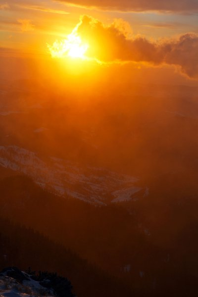 Sunrise on Ceahlau Mountain (1750) and Dochia Valley