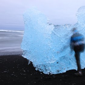 Human shadow in ice