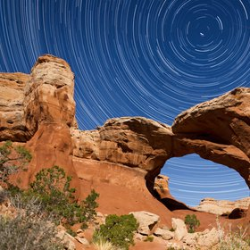 Star trails at Arches