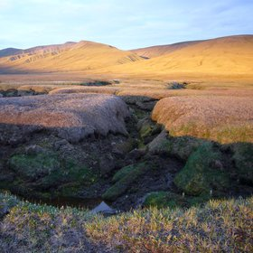Permafrost landscape at sunset
