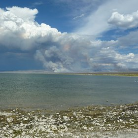 Desert fires feeding a convective cloud system over Mono Lake, California