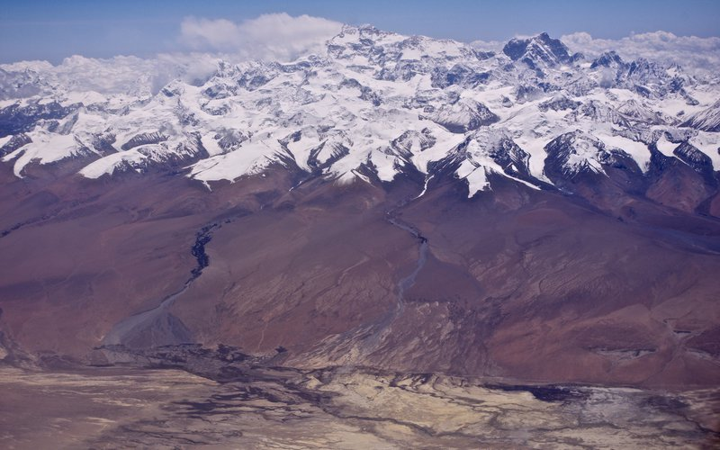 Alluvial fans, transition from the Himalayas to the Tibetan Plateau