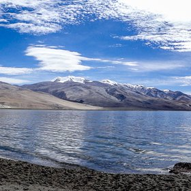 Panoramic view of Lake Tso Moriri, India