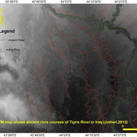 SRTM map shows ancient course of Tigris River in Iraq