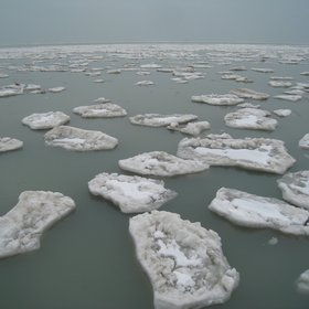 Pieces of ice in Chicago beach