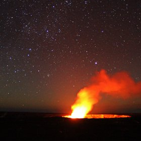 Lava glow and space at the Kilauea volcano