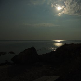 August full moon by the sea