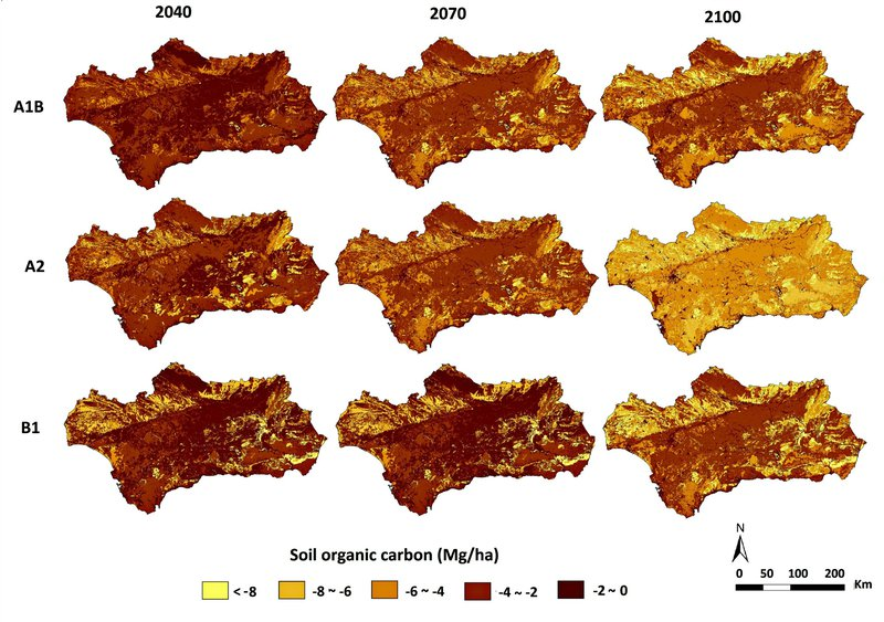 Spatial changes in the distribution of organic C in Andalusia under different climate change scenarios