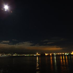 Cold, Moon and Orion over Messina, Sicily