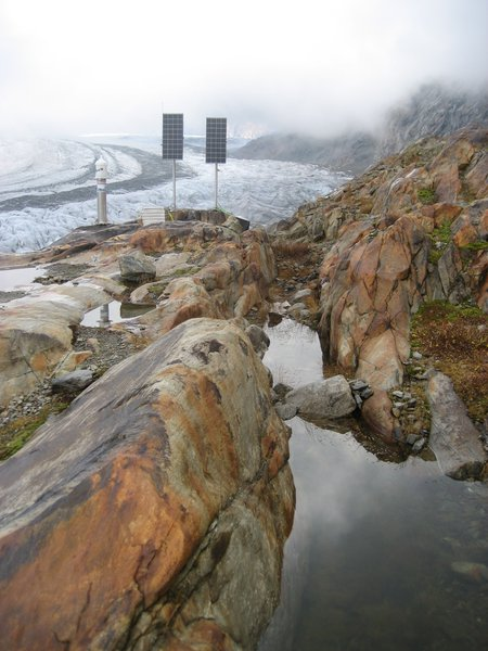 Interaction of Rock & Water - Totalstation at Aletsch