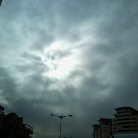 Diffusion of sunlight through the clouds