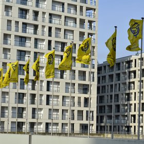 Flags outside the Austria Center Vienna during the EGU 2015 General Assembly