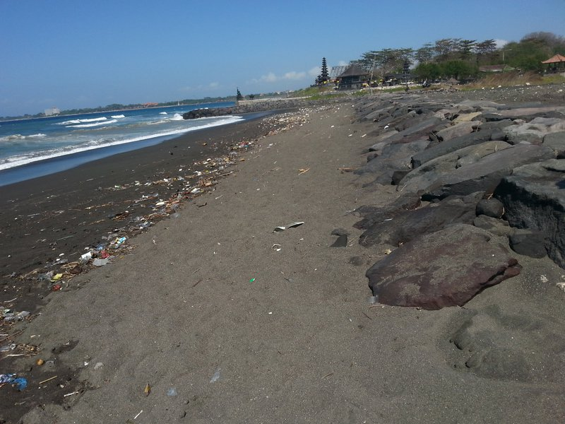 Polluted beach on Bali