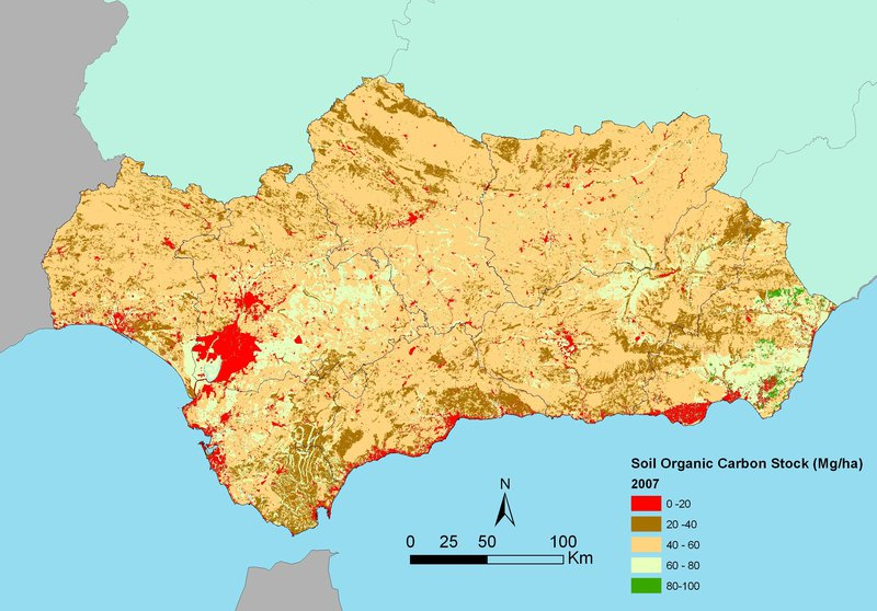 Map of soil organic carbon content (0–75 cm) in Andalusia (southern Spain)