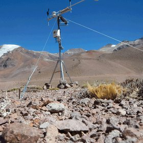 Installation of an automatic weather station in the semi-arid Andes of Chile (gif animation)