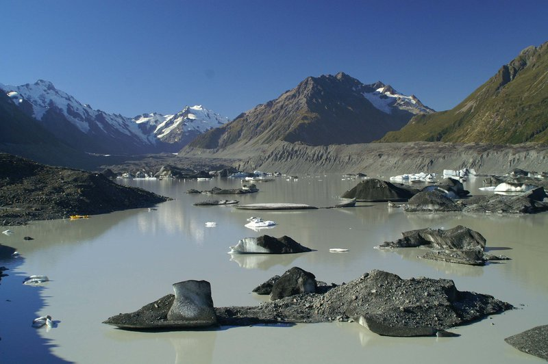Grounded icebergs claved from the terminus of Tasman Glacier, New Zealand