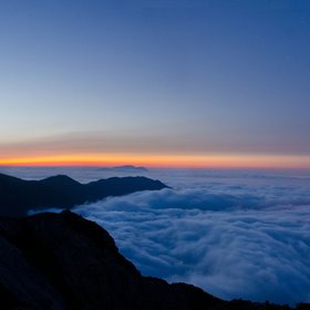 sunset with fog on the Gransasso montain