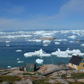 Ilulissat harbour with icebergs