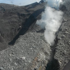 Blowing off steam from Kanaga Volcano (Western Aleutians, Alaska, US)