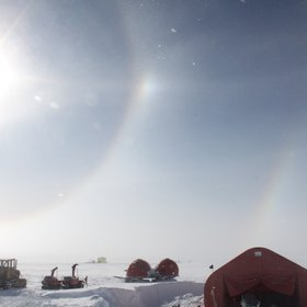Double halo during field work at NEEM ice core drilling site