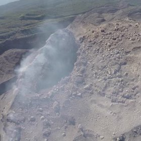 Aerial footage of an explosion at Santiaguito volcano, Guatemala