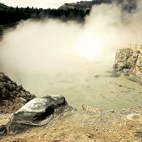 Sulphur fumes from 2000 m a.s.l of Dieng Plateau, Indonesia