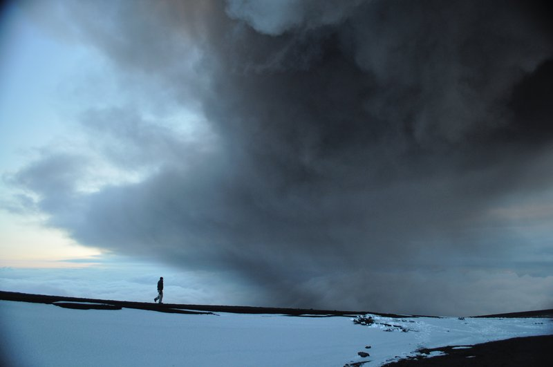 Walking on the glacier under the ash plume