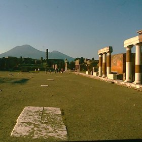 The Mt. Vesuvius from Pompeji