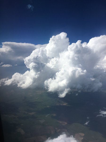 Thunderstorm activity on descent to Johannesburg
