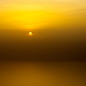 Sunset above the hazy Dead Sea